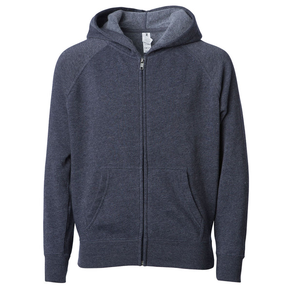 Front of a midnight blue children's zip-up hoodie with a kangaroo pocket.