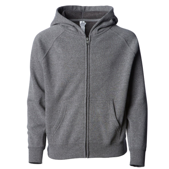 Front of a gray children's zip-up hoodie with a kangaroo pocket.