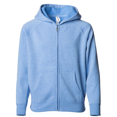 Front of a sky blue children's zip-up hoodie with a kangaroo pocket.