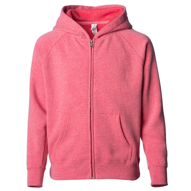 Front of a pomegranate pink children's zip-up hoodie with a kangaroo pocket.