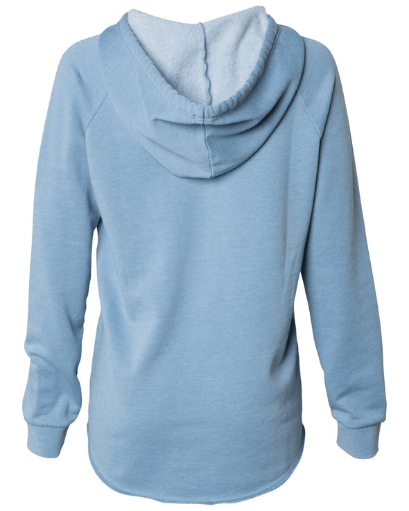Back of a long sleeve pastel blue pullover hoodie.