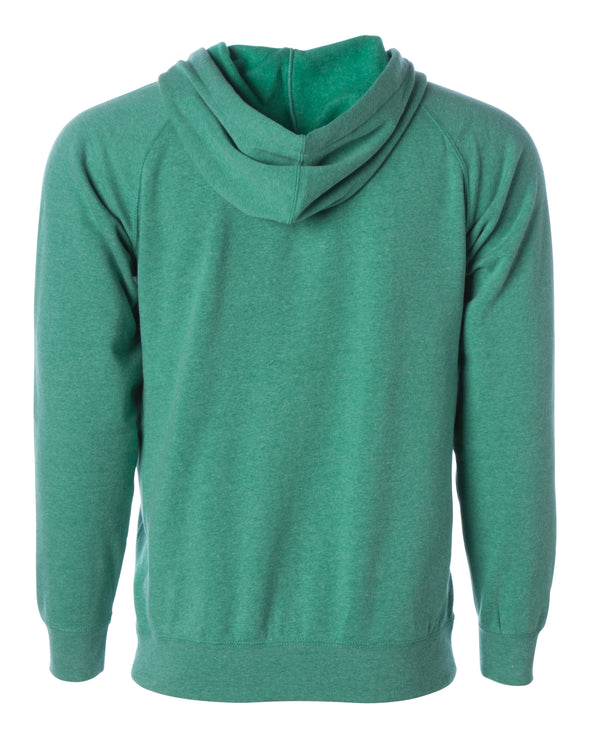 Back of a sea green fleece zip-up hoodie.