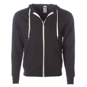 Front of black french terry zip-up hoodie with front pockets, white drawstrings, and thumbholes.