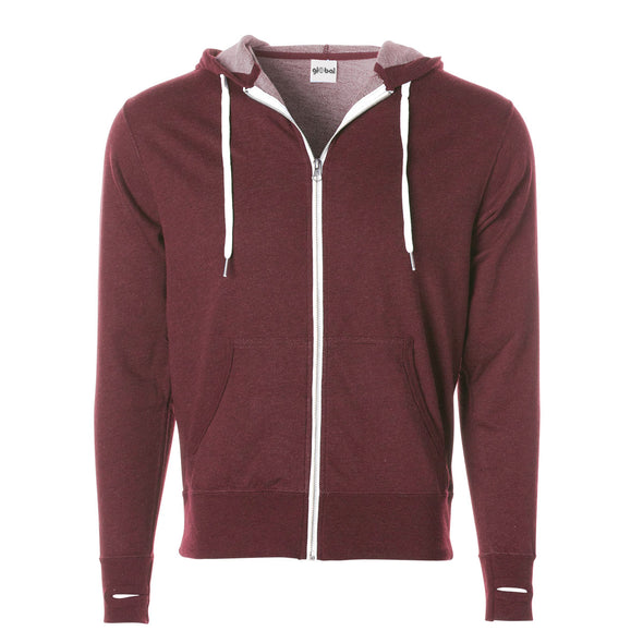 Front of burgundy french terry zip-up hoodie with front pockets, white drawstrings, and thumbholes.