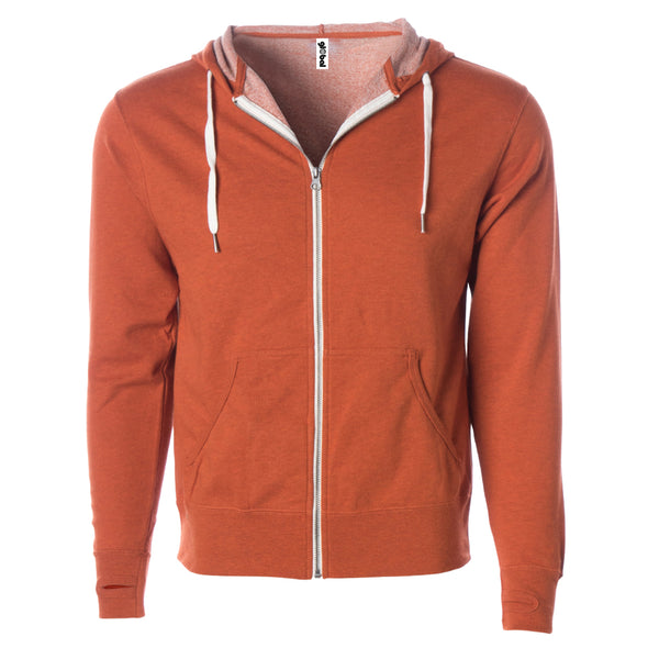 Front of burnt orange french terry zip-up hoodie with front pockets, white drawstrings, and thumbholes.