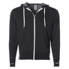 Front of charcoal gray french terry zip-up hoodie with front pockets, white drawstrings, and thumbholes.