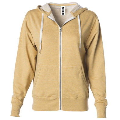 Front of golden yellow french terry zip-up hoodie with front pockets, white drawstrings, and thumbholes.