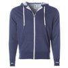Front of navy french terry zip-up hoodie with front pockets, white drawstrings, and thumbholes.