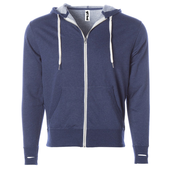 Lightweight French Terry Full Zip Hoodie for Men and Women