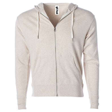 Front of beige french terry zip-up hoodie with front pockets, white drawstrings, and thumbholes.