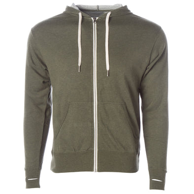 Front of olive green french terry zip-up hoodie with front pockets, white drawstrings, and thumbholes.