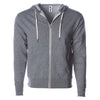 Front of gray french terry zip-up hoodie with front pockets, white drawstrings, and thumbholes.