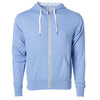 Front of sky blue french terry zip-up hoodie with front pockets, white drawstrings, and thumbholes.