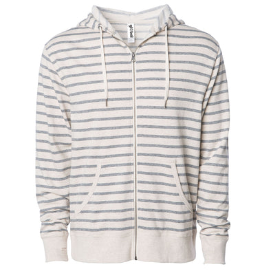Front of beige and gray striped french terry zip-up hoodie with front pockets, white drawstrings, and thumbholes.