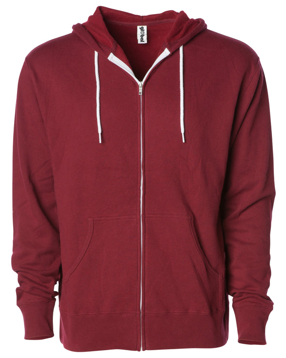 Front of a burgundy zip-up fleece hoodie with front pockets and a white drawstring.