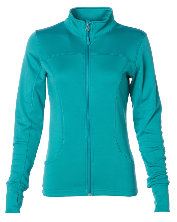 Front of lapis green zip-up yoga jacket with front pockets and thumb holes.