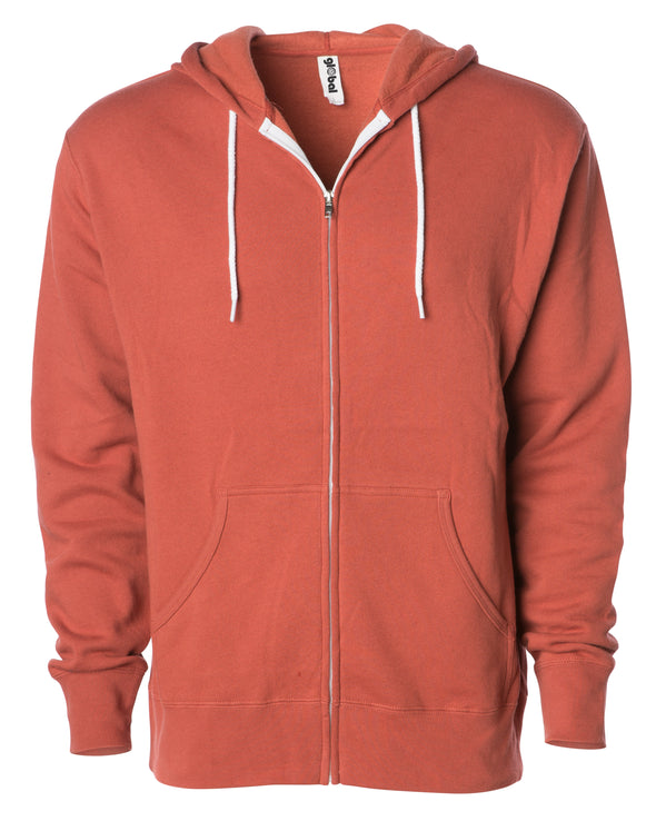 Front of a rust orange zip-up fleece hoodie with front pockets and a white drawstring.