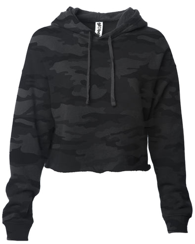 Front of a black camouflage long sleeve crop top hoodie.