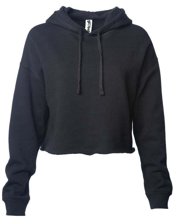 Front of a black long sleeve crop top hoodie.