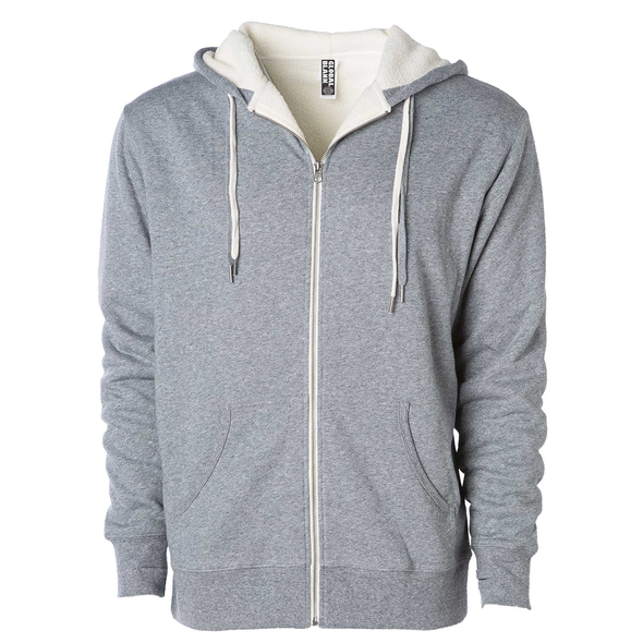 Front of a heather gray zip up sherpa lined hoodie with two drawstrings.