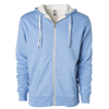 Front of a sky blue zip up sherpa lined hoodie with two drawstrings.