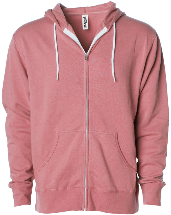 Front of a rose pink zip-up fleece hoodie with front pockets and a white drawstring.