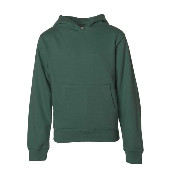 Front of children's green long-sleeve pullover hoodie with kangaroo pocket.