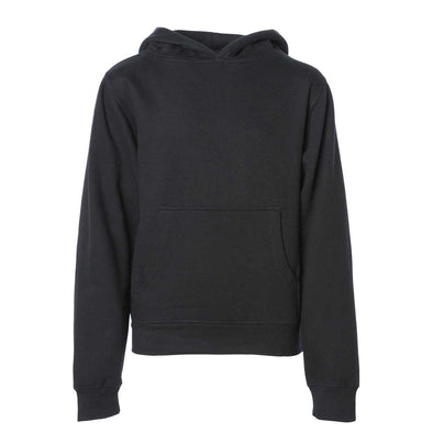Front of children's black long-sleeve pullover hoodie with kangaroo pocket.