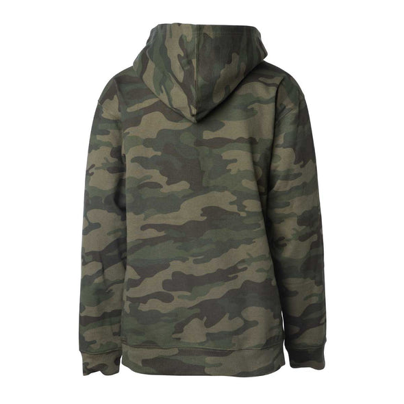 Back of children's green camouflage long-sleeve pullover hoodie.