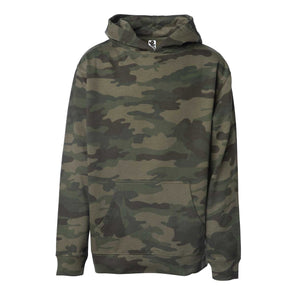 Front of children's green camouflage long-sleeve pullover hoodie with kangaroo pocket.