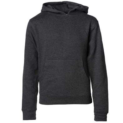 Front of children's charcoal gray long-sleeve pullover hoodie with kangaroo pocket.