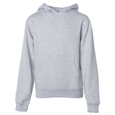 Front of children's heather gray long-sleeve pullover hoodie with kangaroo pocket.