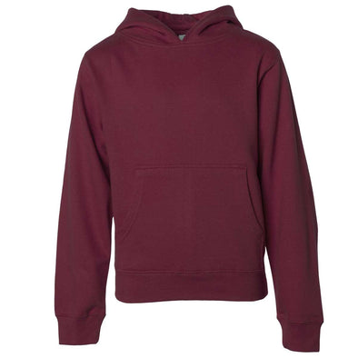 Front of children's maroon long-sleeve pullover hoodie with kangaroo pocket.