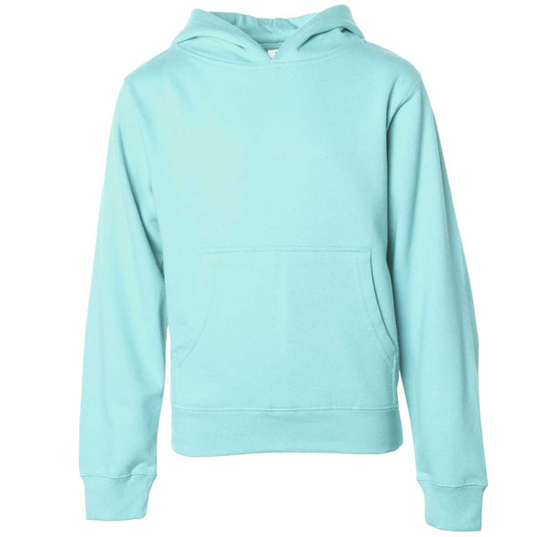 Front of children's mint green long-sleeve pullover hoodie with kangaroo pocket.