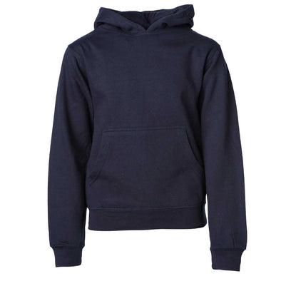 Front of children's navy long-sleeve pullover hoodie with kangaroo pocket.