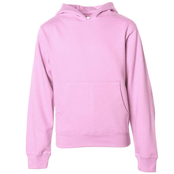 Front of children's pink long-sleeve pullover hoodie with kangaroo pocket.