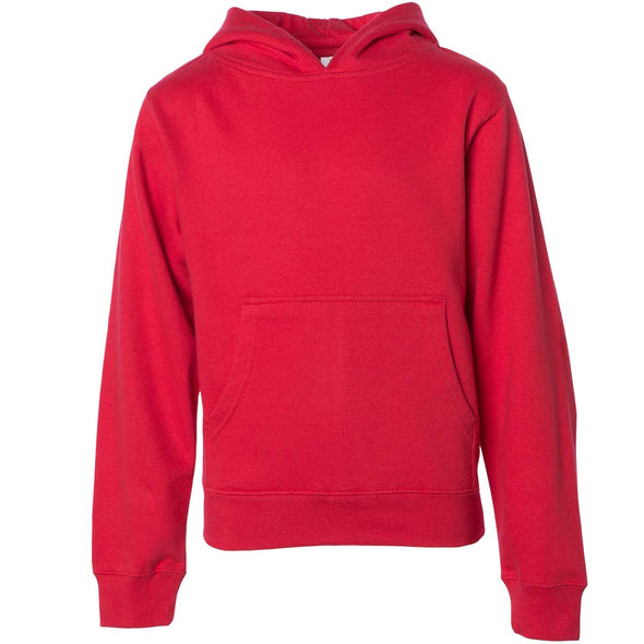 Front of children's red long-sleeve pullover hoodie with kangaroo pocket.