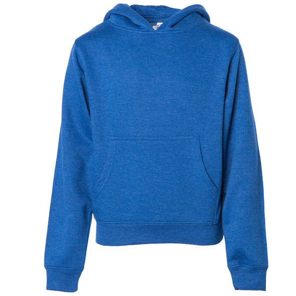 Front of children's royal blue long-sleeve pullover hoodie with kangaroo pocket.