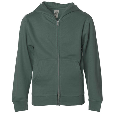 Front of children's alpine green zip-up long-sleeve hoodie with front pockets.