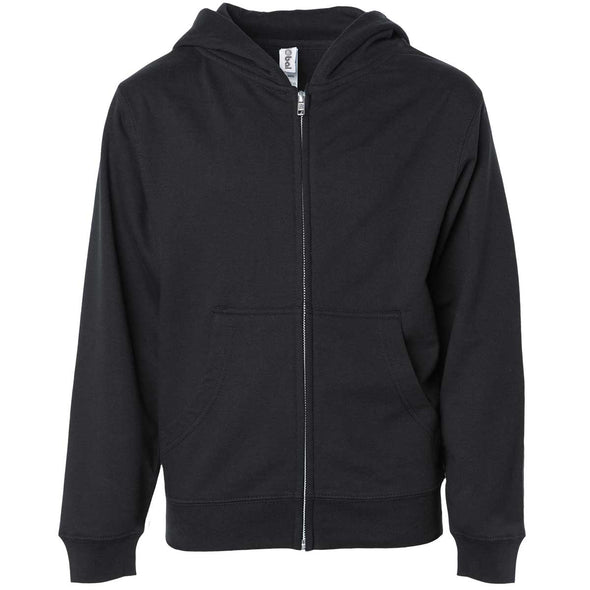 Front of children's black zip-up long-sleeve hoodie with front pockets.