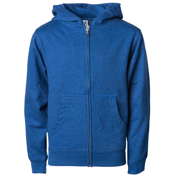 Front of children's blue zip-up long-sleeve hoodie with front pockets.