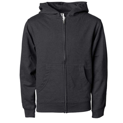 Front of children's charcoal gray zip-up long-sleeve hoodie with front pockets.