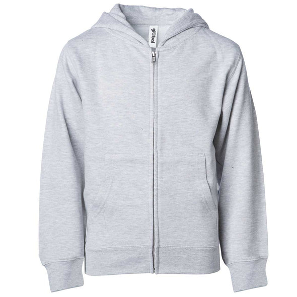 Front of children's light gray zip-up long-sleeve hoodie with front pockets.