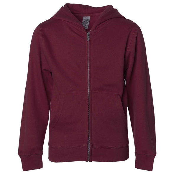 Front of children's maroon zip-up long-sleeve hoodie with front pockets.
