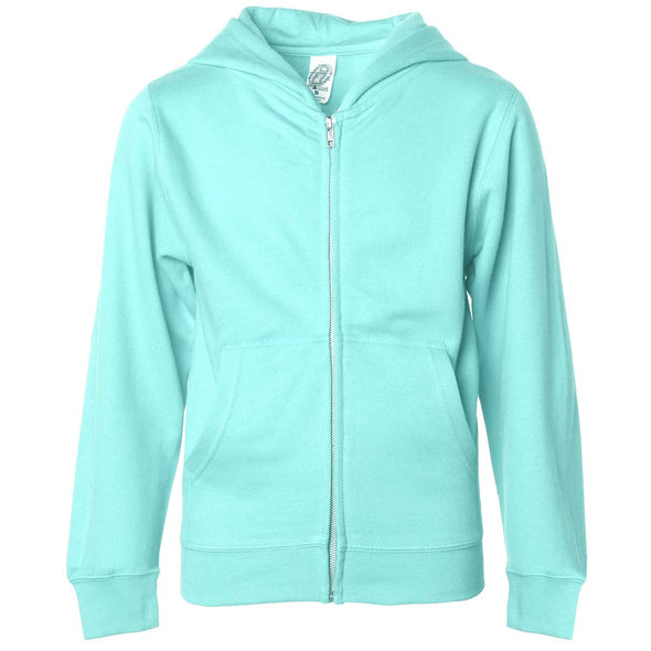Front of children's mint green zip-up long-sleeve hoodie with front pockets.