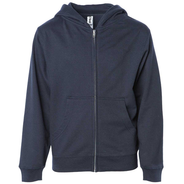 Front of children's navy zip-up long-sleeve hoodie with front pockets.