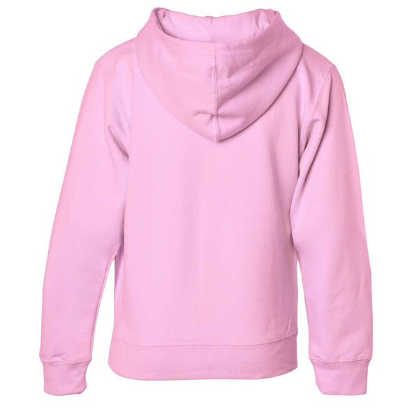 Back of children's pink zip-up long-sleeve hoodie.