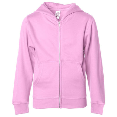 Front of children's pink zip-up long-sleeve hoodie with front pockets.