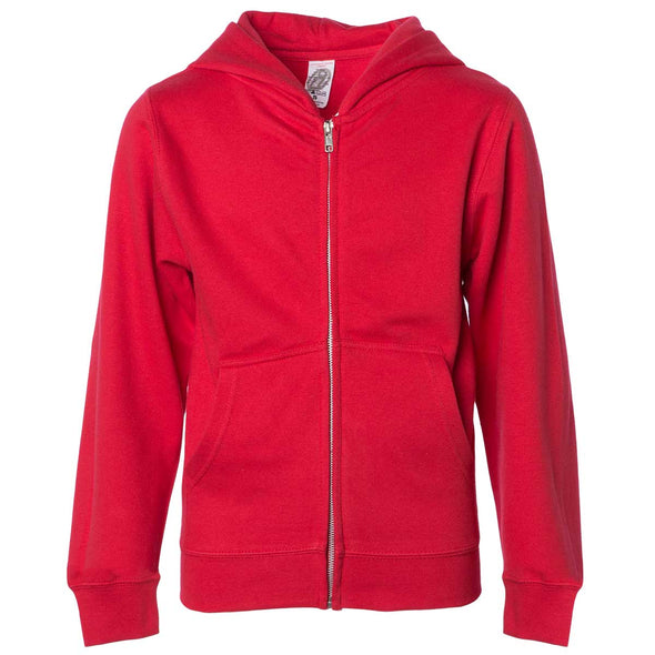 Front of children's red zip-up long-sleeve hoodie with front pockets.