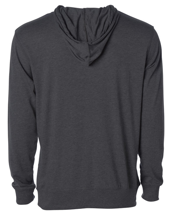 Back of a charcoal gray long sleeve t-shirt jersey hoodie.